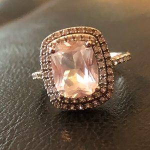 💥2 Carat White Topaz Double Halo Engagement Ring
